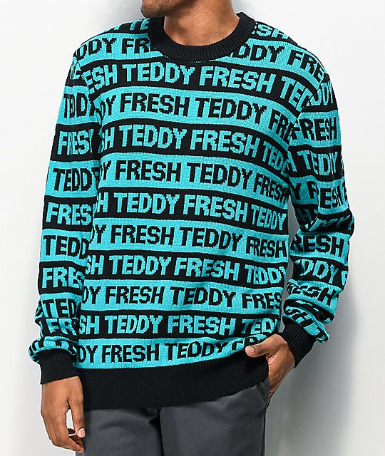 Teddy Fresh Repeat Turquoise Black Sweater Zumiez In 2020 Black Sweaters Long Sleeve Tshirt Men Winter Outfits Warm