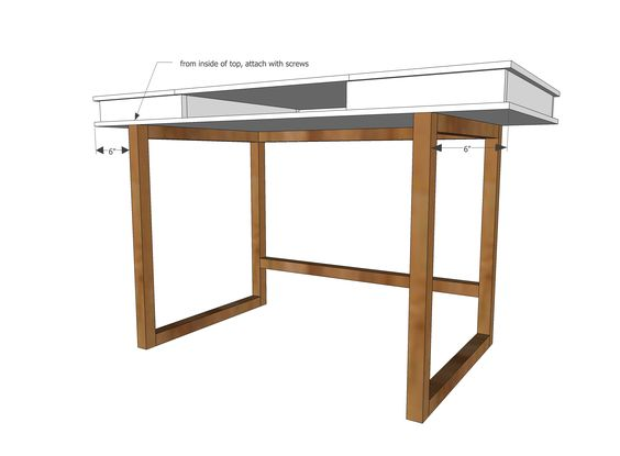 Ana White | Build a Modern 2x2 Desk Base for Build Your Own Study Desk Plans | Free and Easy DIY Project and Furniture Plans