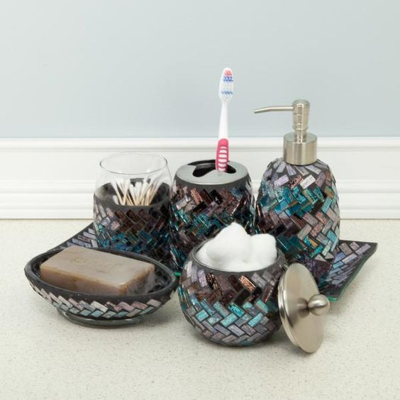Aldo vanity tray products trays and bathroom for Purple mosaic bathroom accessories