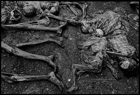 The massacre at Nyarabuye took place in the grounds of a Catholic Church and school. Hundreds of Tutsis, including many children, were slaughtered at close range, Rwanda, 1994.  By James Nachtwey
