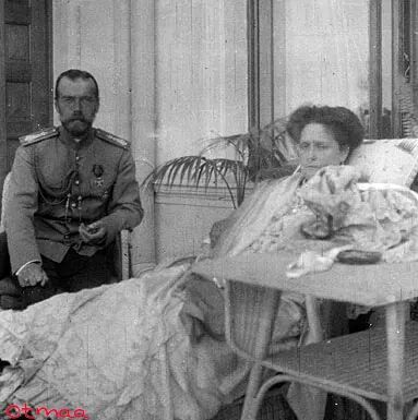 Tsar Nicholas ll of Russia with the Empress Alexandra Feodorovna of Russia.