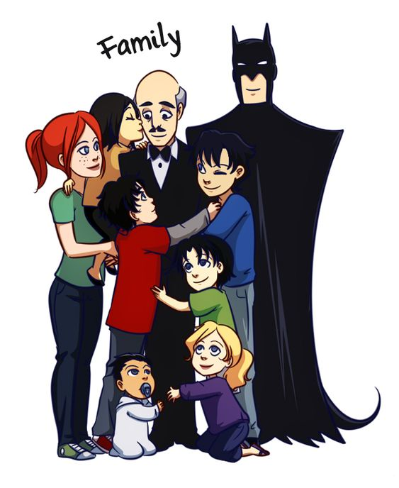 OK Alfred is the old one, the red and blond girls are batgirl,the boys are robin and the baby girl is batman daughter.