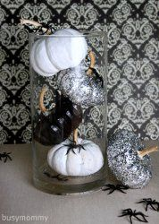 glitter! Could be even more clever with a shabby chic look, where the orig. pumpkin color shows through.
