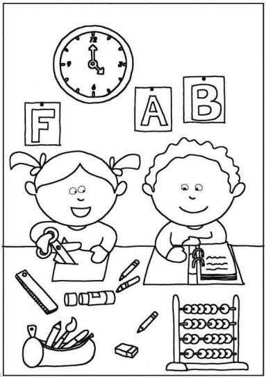Dibujo Para Colorear Niños En Clase Dibujos Para Colorear