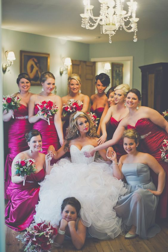"""Funny bridesmaid picture ( """"the awkward touch"""" everyone must be touching the bride in some fashion )"""