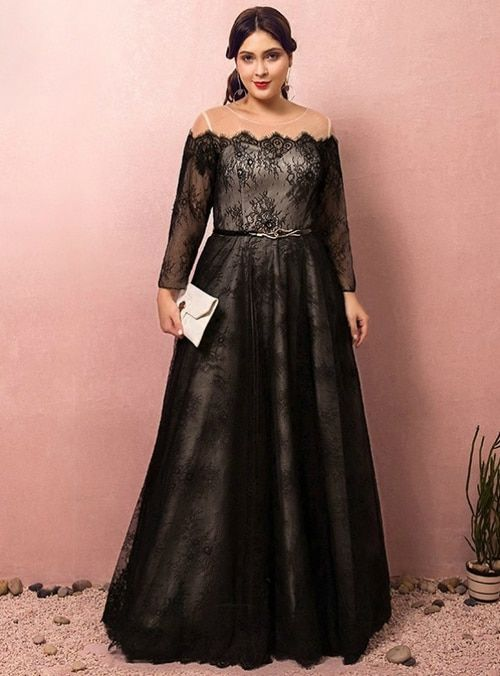 Silhouette A Line Hemline Floor Length Neckline Off The Shoulder Fab Black Lace Long Sleeve Prom Dress Prom Dresses Long With Sleeves Prom Dresses With Sleeves