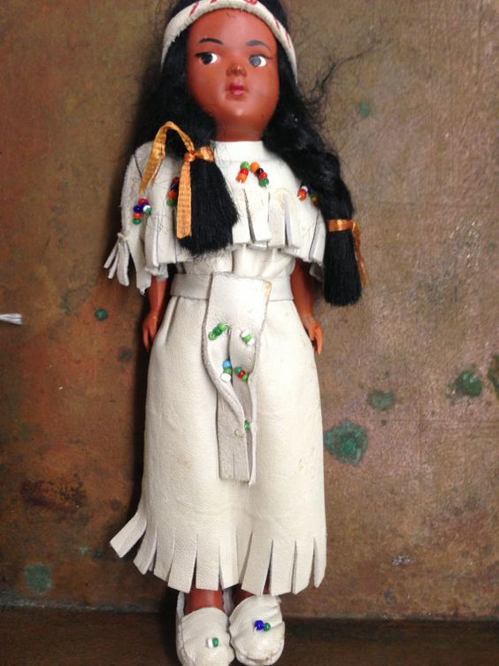 Vintage Storybook Indian Dolll by SylviasFinds on Etsy, $8.00