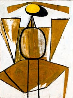 """Robert Motherwell (1915–1991, US), Personage with Yellow, Ochre and White, 1947. Oil on canvas, 71 15/16"""" x 53 15/16"""" (182.8 x 137 cm). The Museum of Modern Art, New York. © 2015 Robert Motherwell Estate / Licensed by VAGA, New York. (MOMA-P1947movg)"""