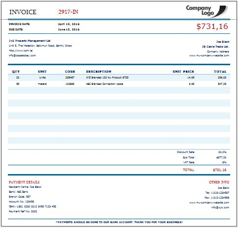 Invoice One - Excel Template Put your customers to the database - creat an invoice