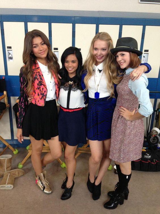 Zendaya, Louriza, Emilia  Chanelle on the set of #Zapped: