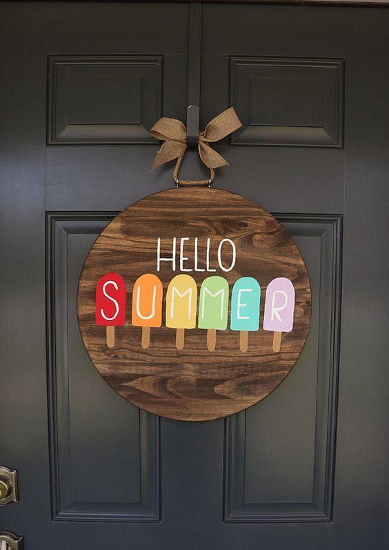 Summer Door Hanger Door Hanger Spring Door Hanger Front Door Decor Welcome Door Hanger Popsicle Door Hanger Hello Summer Summer Door Hanger Crafts Craft Night