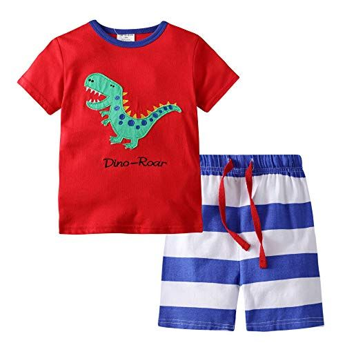 BIBNice Toddler Boys Cotton Clothes Sets Short Sleeve Tee and Shorts 18M-7Y