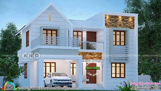 Cute And Stylish 1850 Sq Ft House Plan Kerala House Design Beautiful House Plans Model House Plan