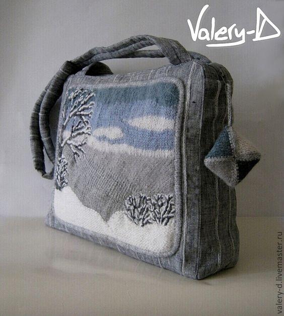 Купить сумка лен + вязано-вышитая картина 12 НАСТРОЕНИЙ. ДЕКАБРЬ большая