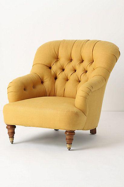 """Anthropologie """"Corrigan"""" chair in dark yellow linen"""