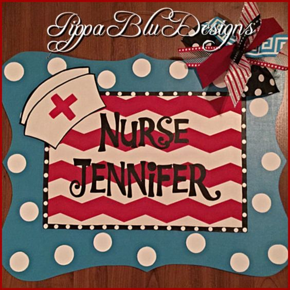Nurse Door Hanger School Nurse Nurse Wreath by PippaBluDesigns