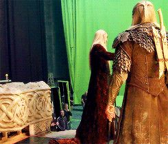 "Thranduil is like ""Let me show you how it's done, son."" And Legolas is like ""Dad, STAWP! I know how to use a sword!!"""