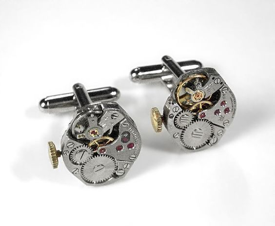 Steampunk Cufflinks - Vintage Jeweled Movement SOLDERED Cufflinks Weddings Anniversary Gift for Men - Steampunk Jewelry by edmdesigns. $75.00, via Etsy.