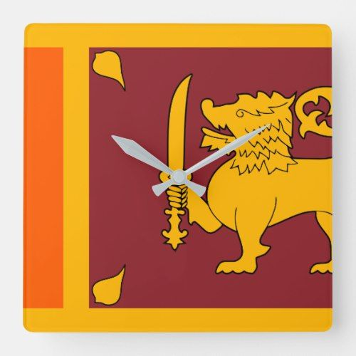 Sri Lanka Flag Square Wall Clock Country Wall Clock Sri Lanka Flag Square Wall Clock