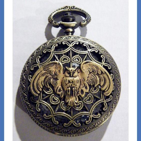 Steampunk Retro Antique Owl Pocket Watch and Gun by tempusfugit