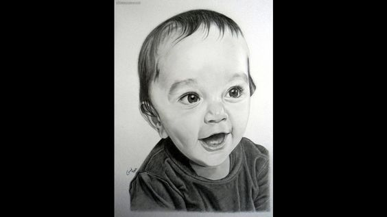 Portrait of Baby Graphite on A3 paper