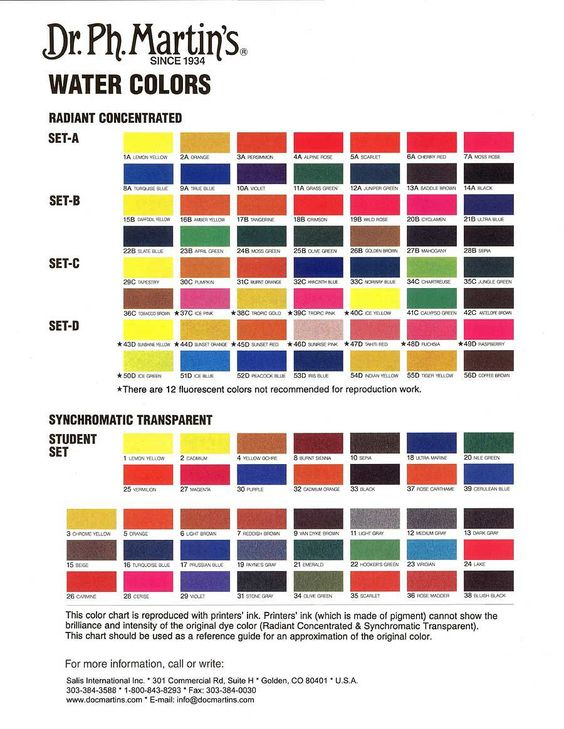 Dr Ph MartinS Radiant Concentrated Watercolor Color Chart