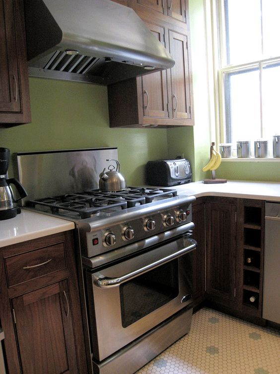 Mix of dark brown cabinet stainless steel appliance and for Green and brown kitchen ideas