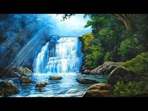 Nice How To Paint A Waterfall Realistic Natural View On Canvas Trick Art Youtube Waterfall Paintings Waterfall Art Nature Paintings
