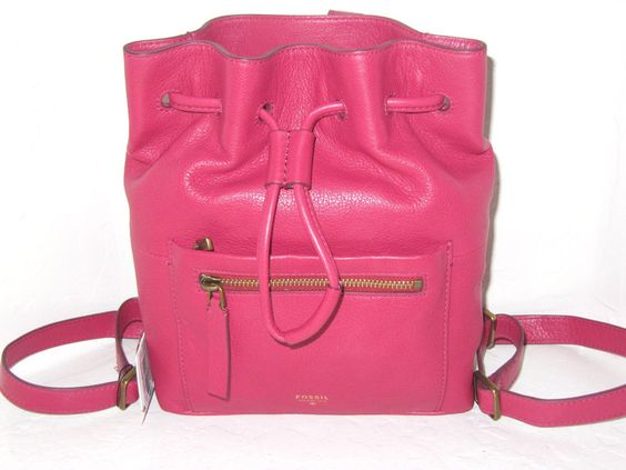 FOSSIL Vickery Drawstring Bright Pink Leather Backpack NWT $160.00 retail #Fossil #BackpackStyle