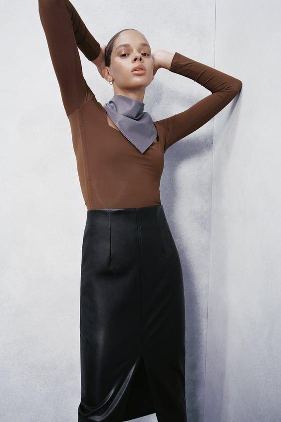 Falda Tubo Efecto Piel Zara España Faux Leather Pencil Skirt Leather Pencil Skirt Pencil Skirt