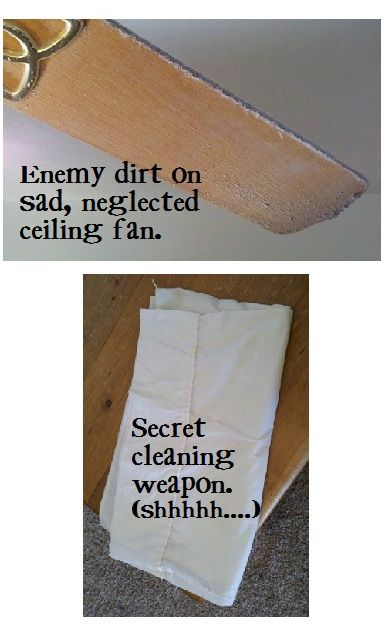 Genius! Clean ceiling fan blades with pillowcase to keep the mess from going all over your house: