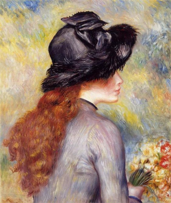 Young Girl Holding at Bouquet of Tulips - Pierre-Auguste Renoir                                                                                                                                                      Mais