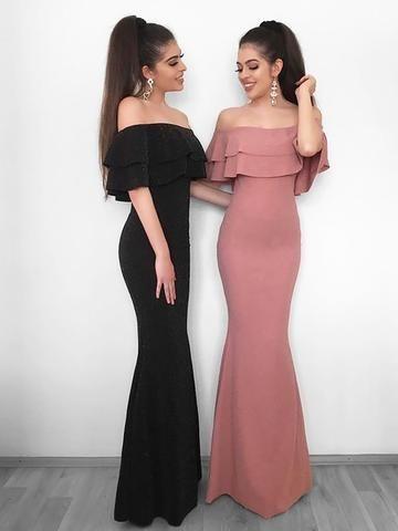 Off The Shoulder Pink Ruffles Chiffon Prom Dress En 2019