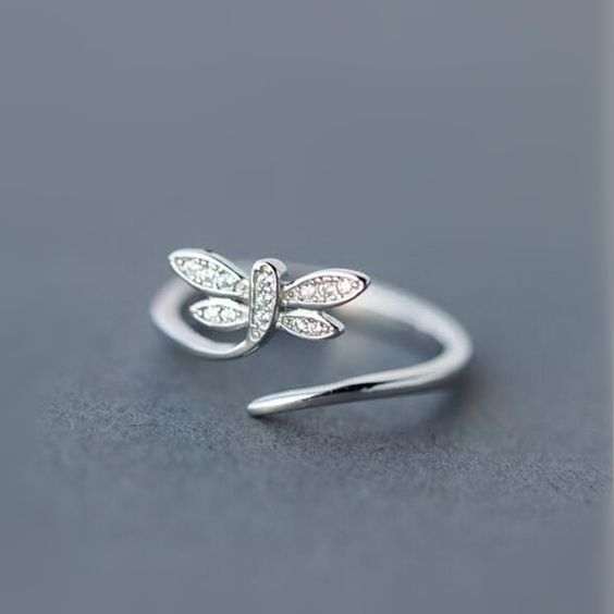 Chic 925 Silver Dragonfly Open Ring
