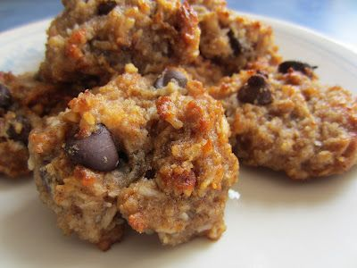 Chewy Peanut Butter & Coconut Cookies {Gluten, Egg, Dairy & Sugar Free}  1/2 c. unsweetened shredded coconut  1/2 c. coconut flour  1/4 t. baking soda  1/2 t. baking powder  1 t. cinnamon  1 T. chia meal  1/4 c. hot water  1/4 c. honey  1/2 c. crunchy peanut butter  1 t. vanilla extract  1/4 c. applesauce  1/2 c. chocolate chips