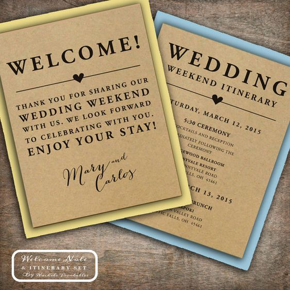 Hotel Welcome Bags, Destination Weddings And Printed On