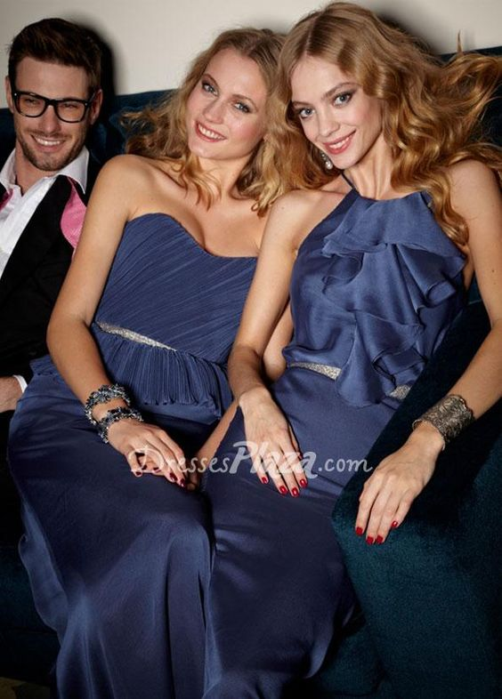 blue spaghetti sleeveless floor length ruffled racer neckline bridesmaid dress