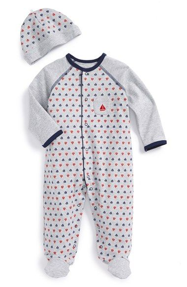 Little Me 'Sailboat' Footie & Hat (Baby Boys) available at #Nordstrom