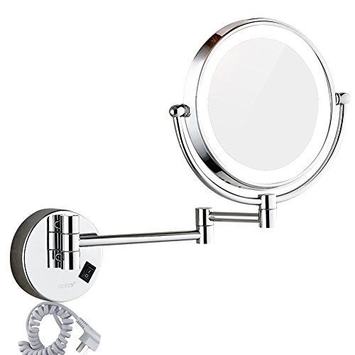 Dowry Wall Mounted Led Lighted Vanity Makeup Mirror With 10x Magnification Double Sided On Off But Wall Mounted Makeup Mirror Makeup Mirror Mirrors For Makeup
