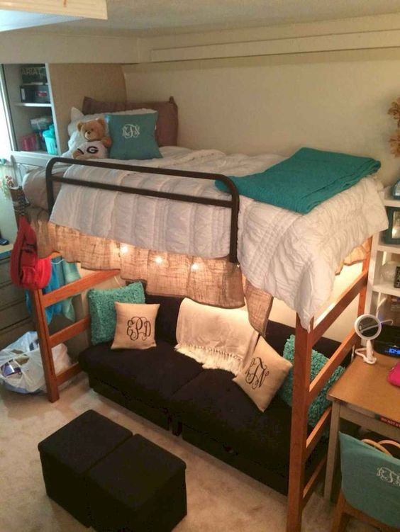 22 College Dorm Room Ideas For Lofted Beds