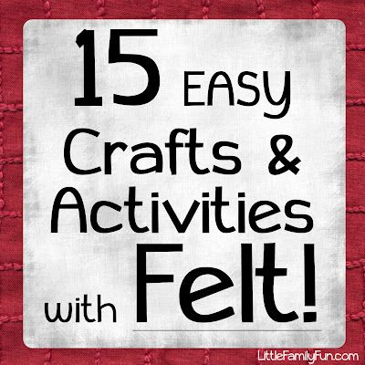 I LOVE felt!!  It is so easy & fun to work with. Here's a list of some fun, easy & cute crafts & activities with felt!