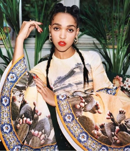 FKA twigs photographed by angelo pennetta  for Vogue April 2014  Kimono / gown amazing with the hoops and pigtails!     pinned by http://shoestringstylist.co/