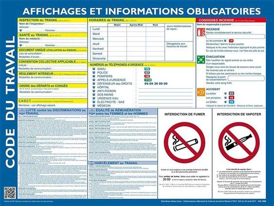 Code Du Travail Affichage Obligatoire Panneau Affichage Affichage Affichage Obligatoire Restaurant