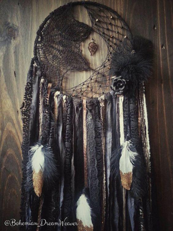 Black Gold Dream catcher  glamour by BohemianDreamweaver on Etsy