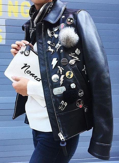 A leather jacket with all the trimmings.: