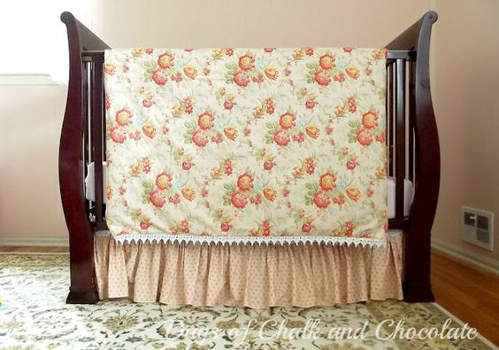 Days of Chalk and Chocolate: Sewing Project:  Crib Duvet Cover and Crib Skirt