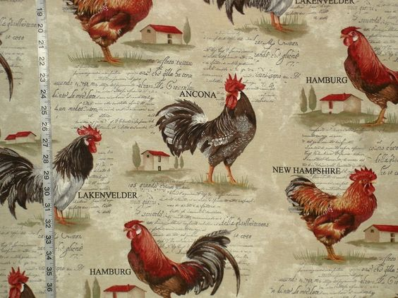Rooster fabric retro European country chickens document print from Brick House Fabric: Novelty Fabric: