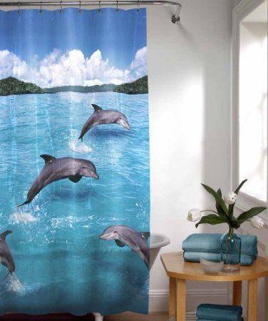 Dolphins bathrooms decor and shower curtains on pinterest for Dolphin bathroom design