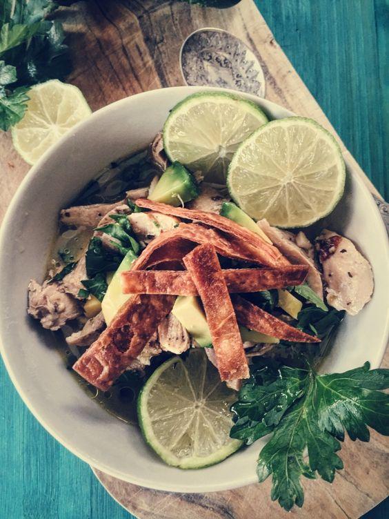 Sopa de Lima in a wintry, orang-y version. Hot broth, fresh avocado and crispy tortilla fries.