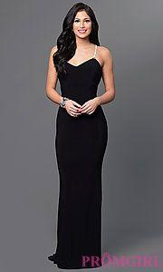 Black Floor-Length Marina Jeweled-Back Dress